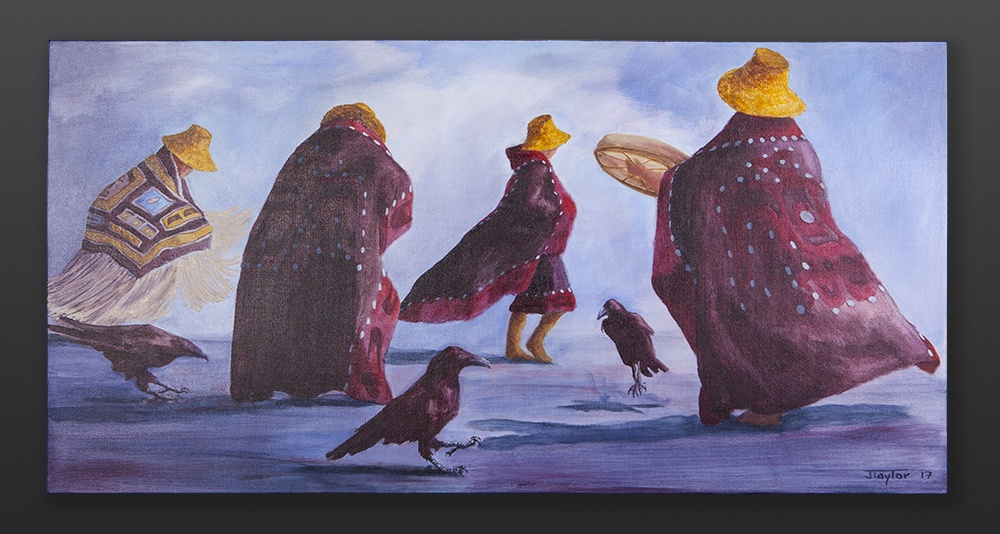 including raven Jean Taylor Tlingit painting Acrylic on canvas