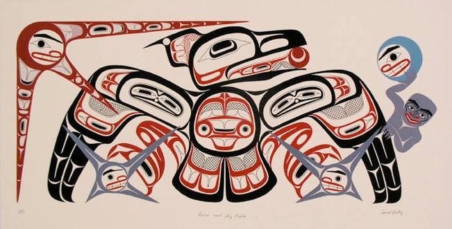 David Boxley Tsimshian raven sky people Serigraph