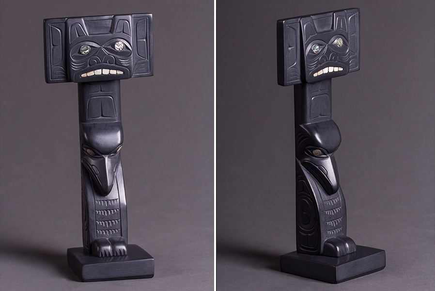 Bear and Raven Memorial Pole Glen Pollard Haida Argillite