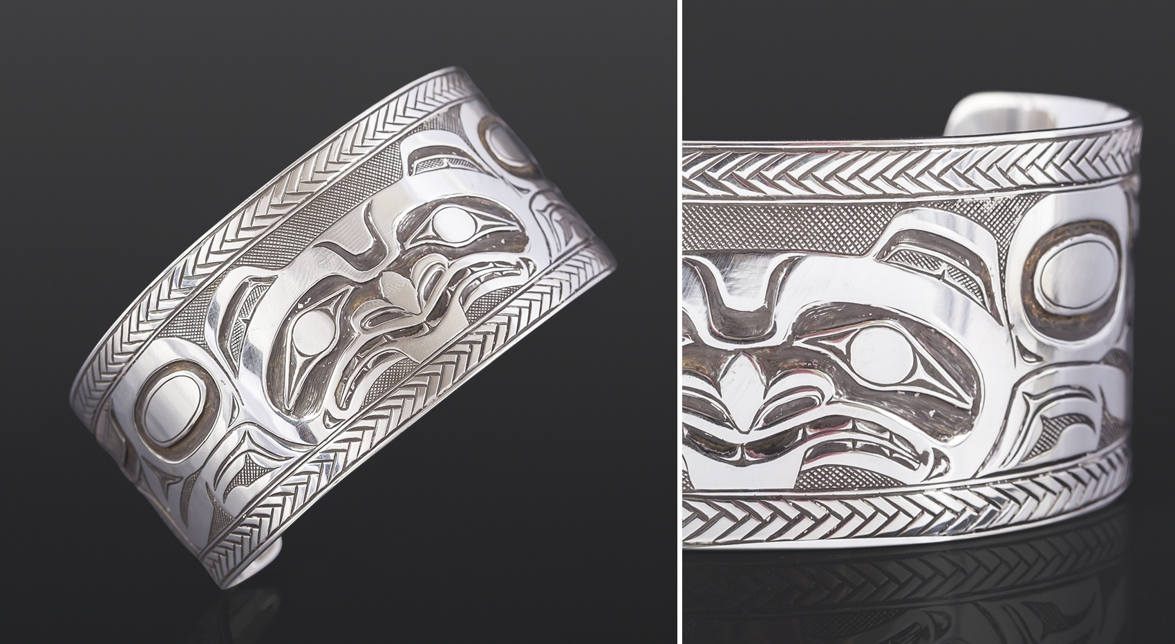 Bear with Chevrons bracelet Allen Thompson Saulteaux Sterling silver 7 x 1½ 1200 jewelry northwest coast native art