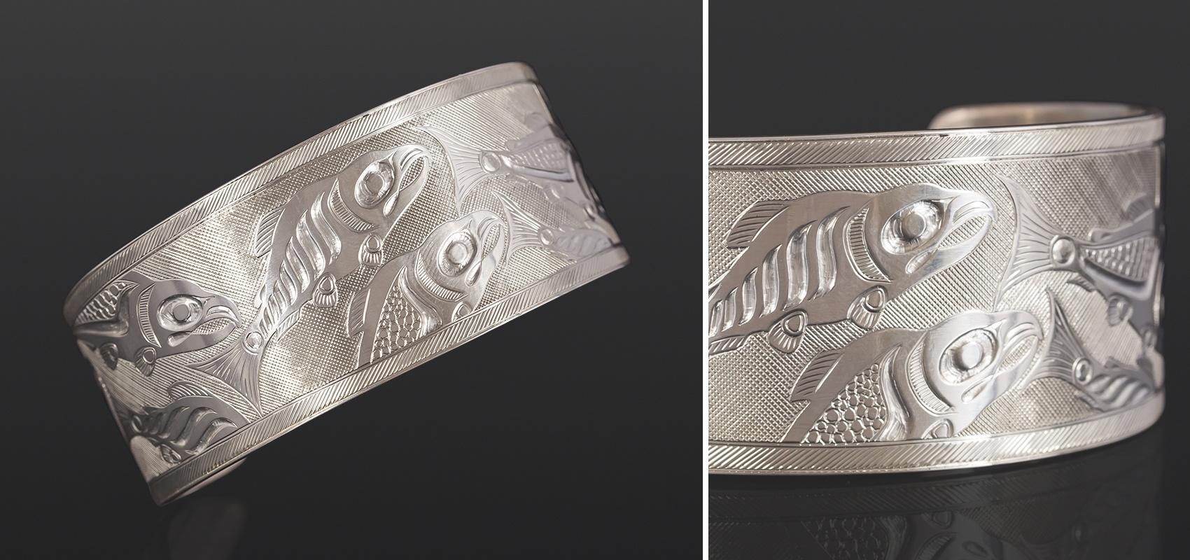 homecoming bracelet Allen Thompson Saulteaux Sterling silver 6½ x 1¼ 1000 salmon jewelry northwest coast native art