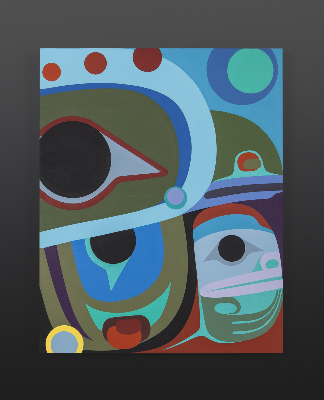 Baby Raven Steve Smith - Dla'kwagila Oweekeno Acrylic on birch panel 30 x 24 2800 northwest coast art modern art native