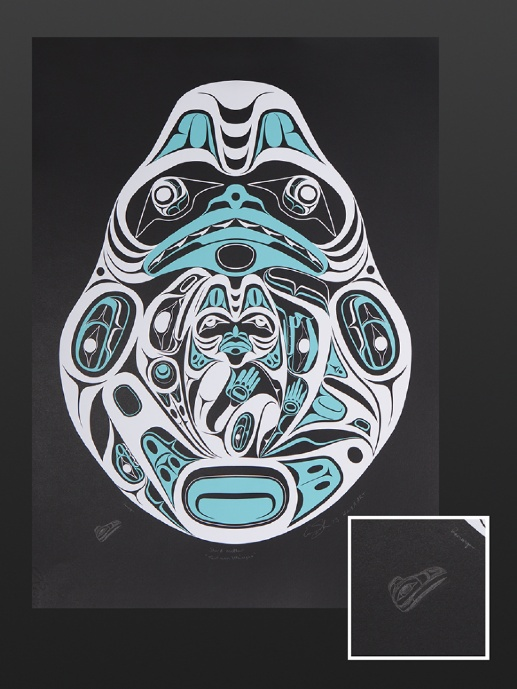 Ernest Swanson Haida Silkscreen Remarque 20 1/2 x 28 1/2 1000 Shark Mother Remarque