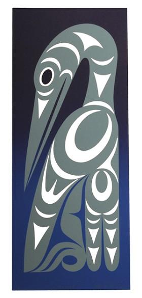 Winter Heron Maynard Johnny Jr. Coast Salish Serigraph Limited Edition of 120 10 W x 22 H 150