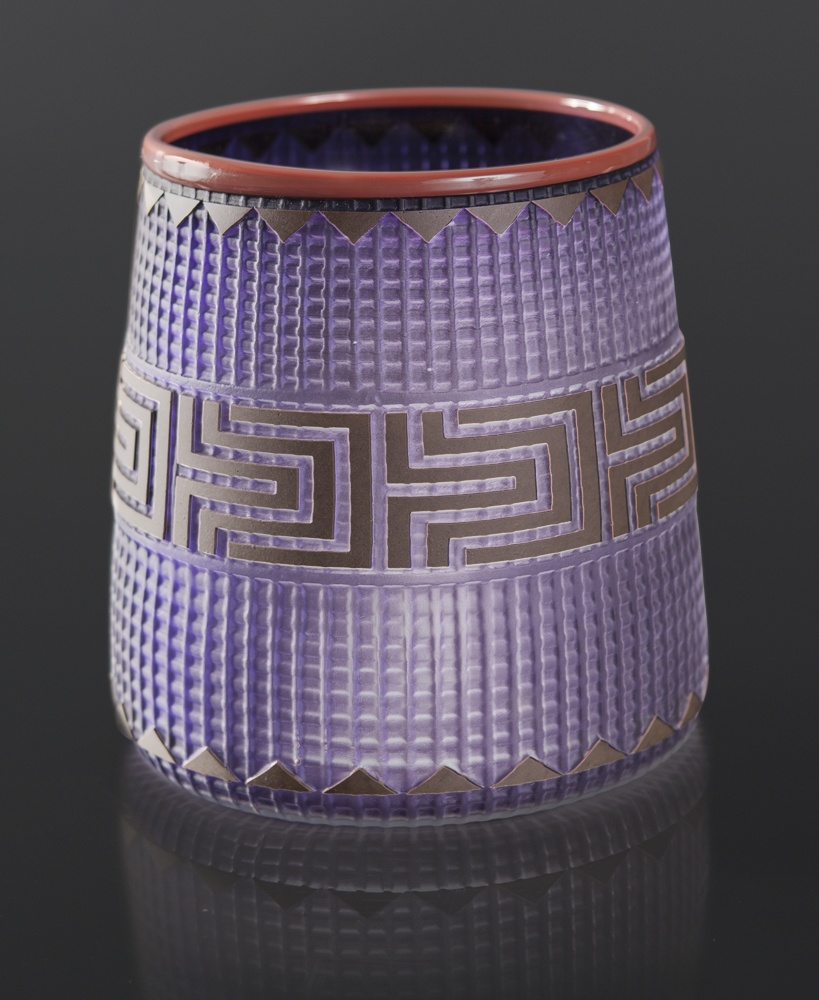 Deep Purple Basket Preston Singletary Tlingit Blown & sand carved glass 6½ x 5 3500