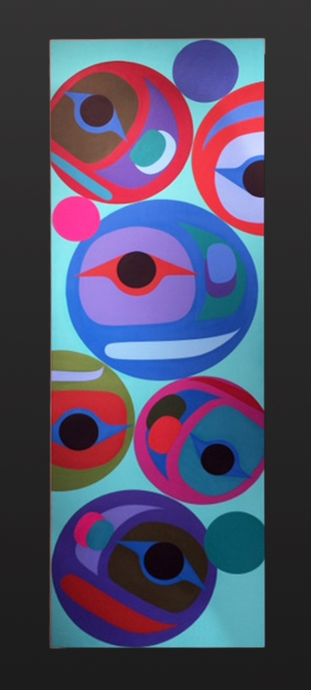 Beginning & Ending Steve Smith - Dla'kwagila Oweekeno Acrylic on birch panel 12 x 36 native art northwest coast contemporary original painting