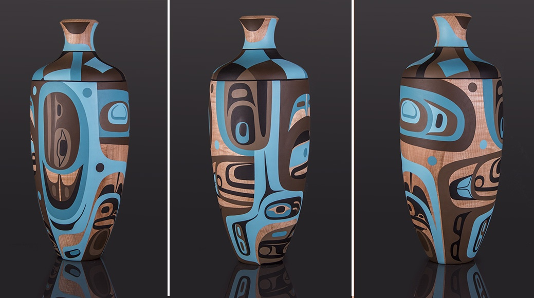 Bear Transformation Steve Smith – Dla'kwagila Oweekeno Turned maple vase, paint 22 x 8 x 8 sculpture wood vase contemporary northwest coast native art