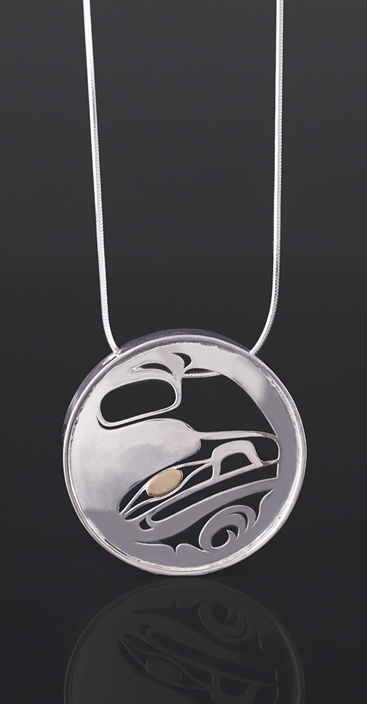 raven in the round pendant Grant Pauls Tahltan Silver, 14k gold, silver chain 1 1/2 dia. x 1/4 375 jewelry native art northwest coast