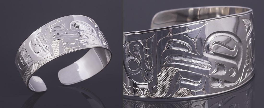 Eagle bracelet David Quist Haida 6 x 1 700 silver jewelry northwest coast native art