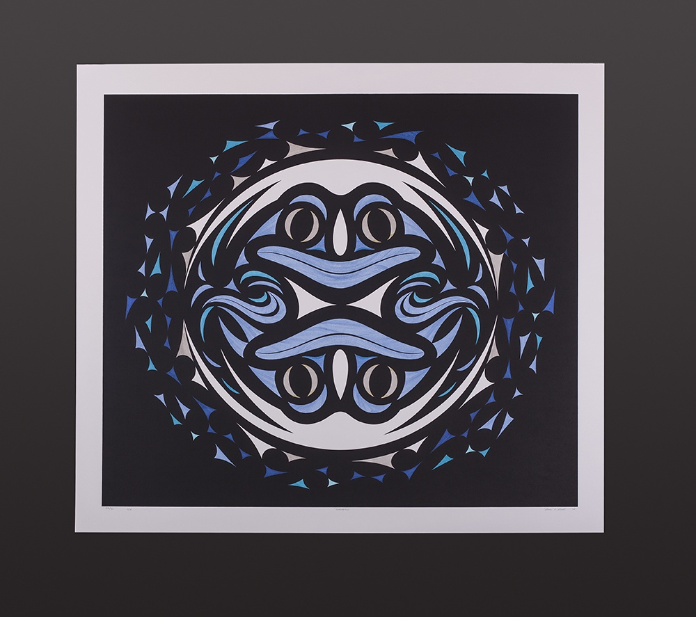 "Susan Point Coast Salish Serigraph, hand-done india ink 30"" x 27"" #22/30 Variable Edition Genesis #22 Susan Point $1400"