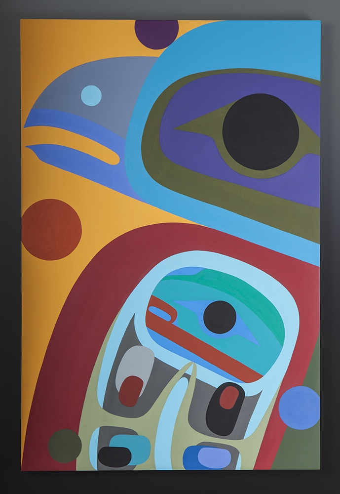 Baby Raven Steve Smith Steve Smith - Dla'kwagila Oweekeno Acrylic on birch panel 28 x 36 original painting northwest coast native art