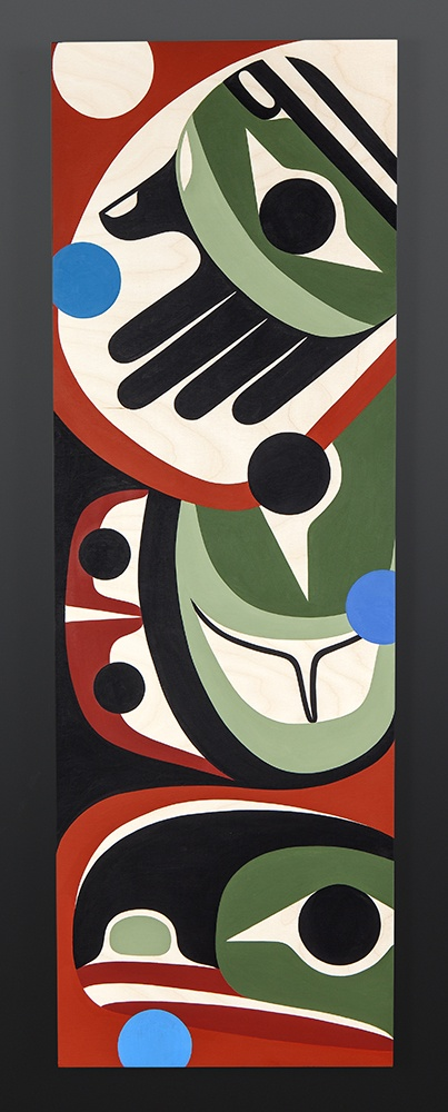 A look at the past Steve Smith - Dla'kwagila Oweekeno Acrylic on birch panel 36 x 12 native artist contemporary original northwest coast