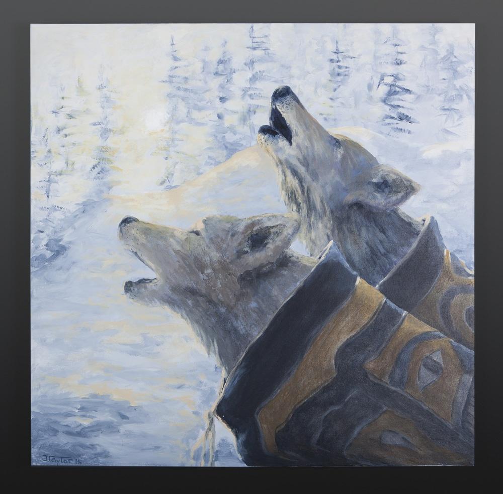 Jean Taylor Tlingit Acrylic on canvas 30 x 30 brothers jean taylor wolf native art northwest coast painting