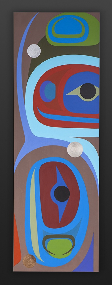 Balance Steve Smith - Dla'kwagila Oweekeno Acrylic on birch panel 12 x 36 native art northwest coast contemporary seattle