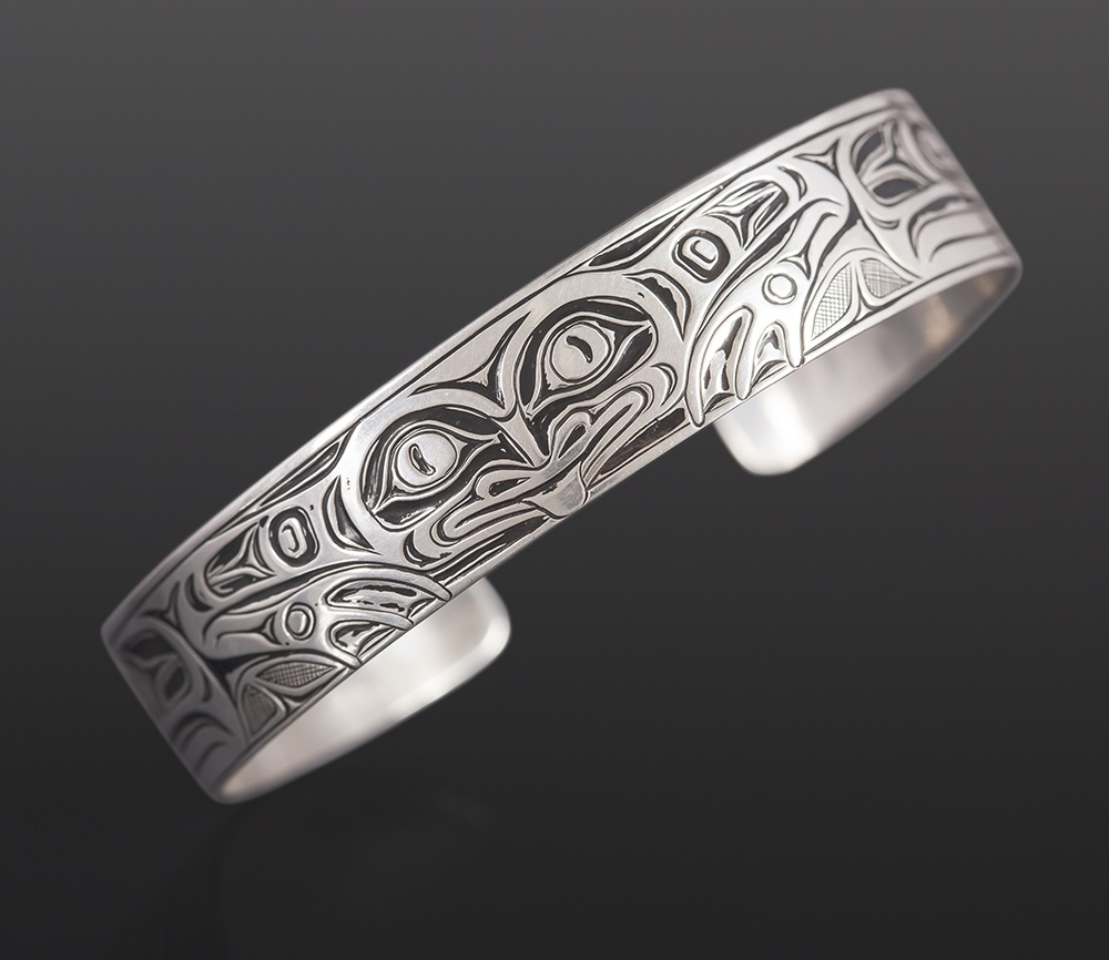 Frog Bracelet Joseph Wilson Kwakwaka'wakw Oxidized silver 1/2 350 jewelry northwest coast native art