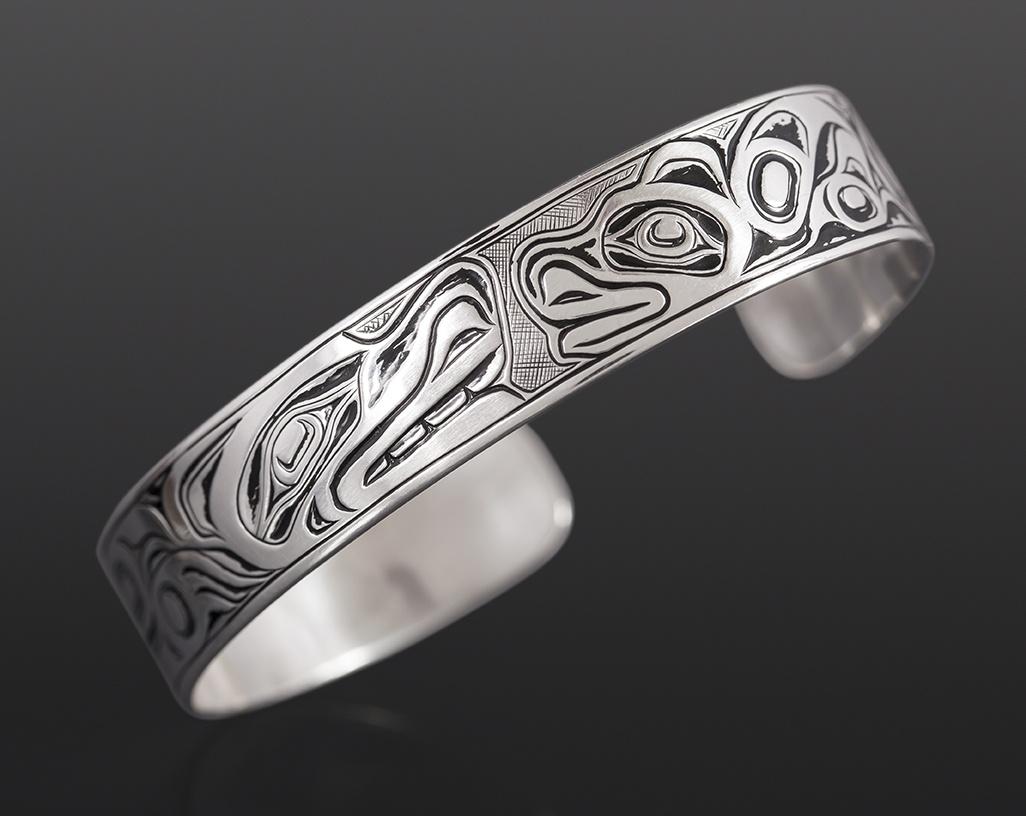 bear mother and cub bracelet Joseph Wilson Kwakwaka'wakw Oxidized silver 1/2 350 jewelry northwest coast native art