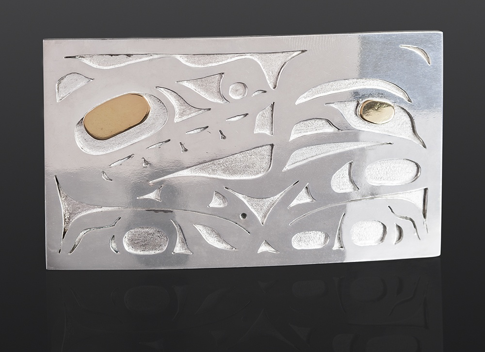Wolf belt buckle Grant Paul Tahltan Silver, 14k gold 3 x 2 jewelry buckles northwest coast native art
