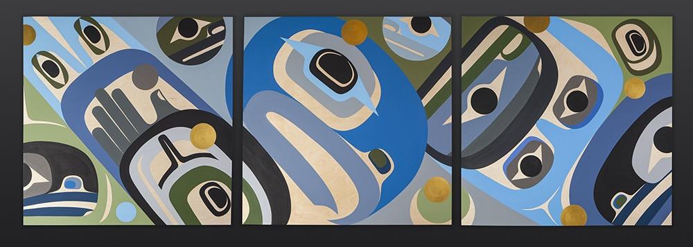 Peaceful Steve Smith - Dla'kwagila Oweekeno Acrylic on birch Triptych 108 x 36