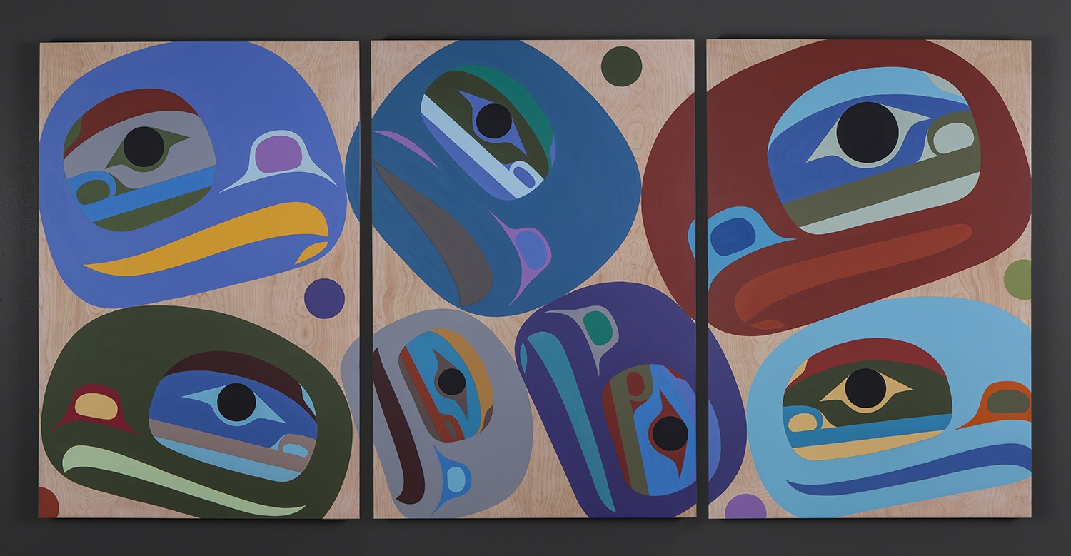 Outer Peace Is Inner Peace Steve Smith Oweekeno Acrylic on birch panel, triptych 72 x 36 original painting northwest coast native art