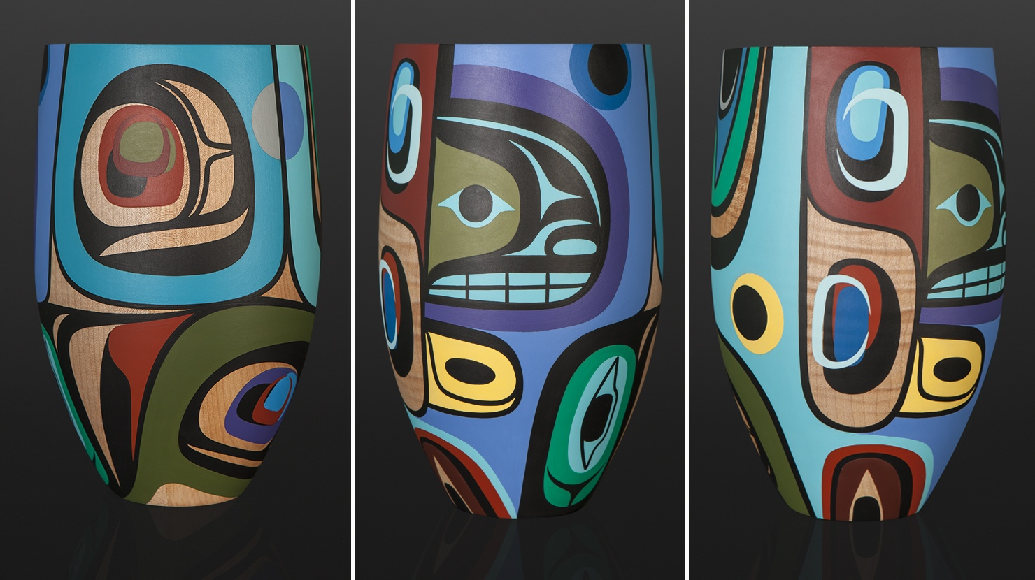 Awaken Steve Smith - Dla'kwagila Oweekeno Acrylic on maple vase 12 x 6 wood sculpture wood vase northwest coast native art