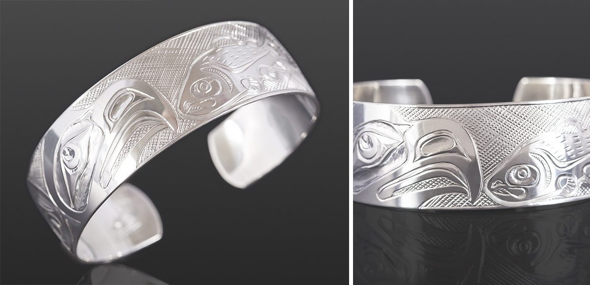 Eagle and Salmon bracelet Kelvin Thompson Saulteaux Silver 6 x ¾ 425 jewelry northwest coast native art