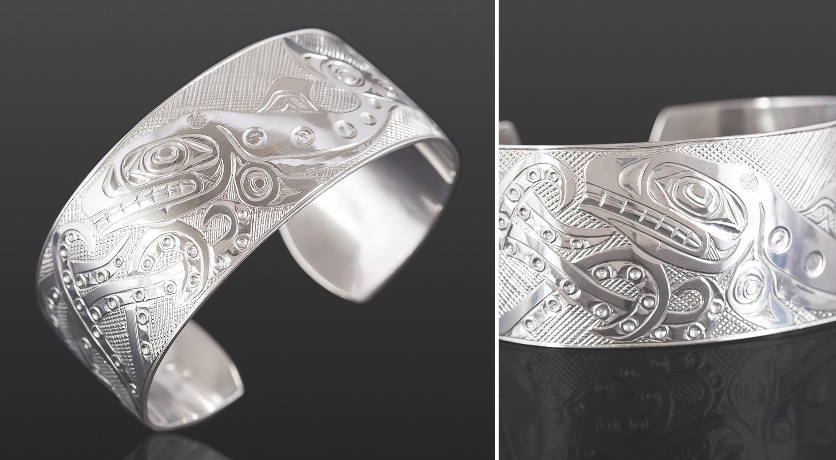 octopus and orca bracelet Kelvin Thompson Saulteaux Silver 6 x 1 750 jewelry northwest coast native art