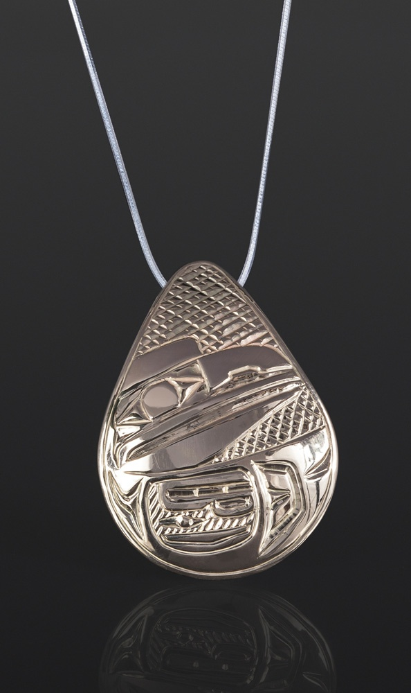 Raven Teardrop Pendant Bill Bedard Haida 14K gold 1 1/2 x 1/2 985 jewelry northwest coast native art