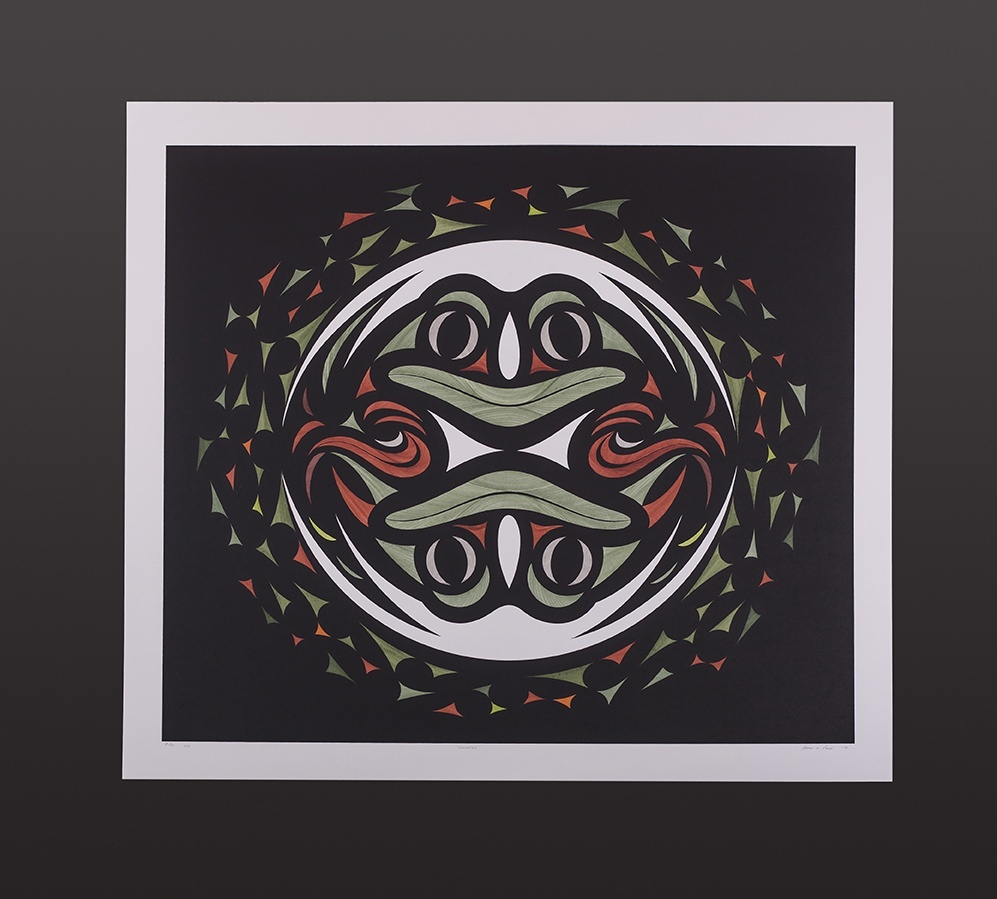 Susan Point Coast Salish Serigraph, hand-done india ink 30 x 27 9/30 Variable Edition