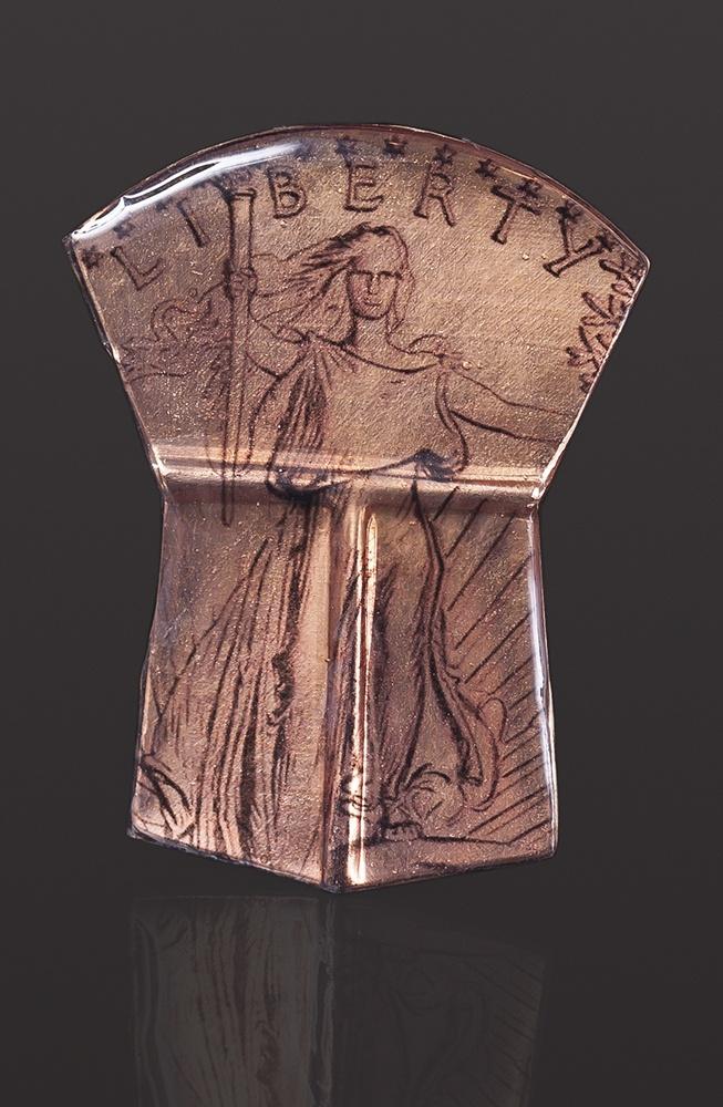 lady liberty pendant Alison Bremner - Tlingit Copper, transfer 2 1/4 x 1 1/2 jewelry northwest coast native art