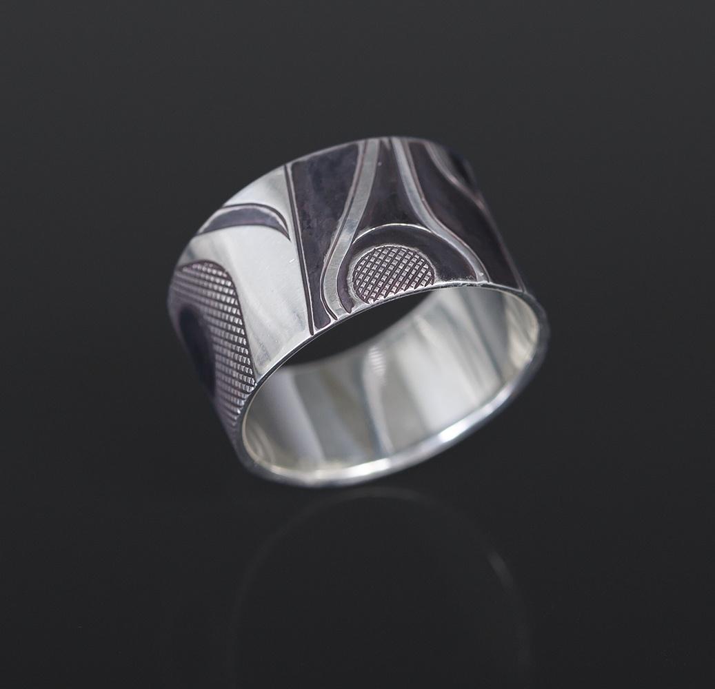 conversation ring Clinton Work Kwakwaka'wakw silver abstract jewelry northwest coast native art
