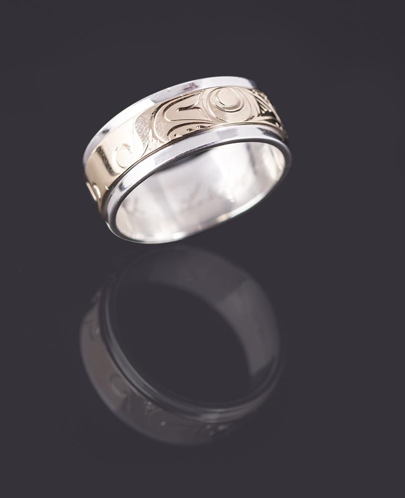 wolf ring Lloyd Wadhams Jr Kwakwaka'wakw Double Band Rings Gold on Silver/Silver on Silver northwest coast native art jewelry