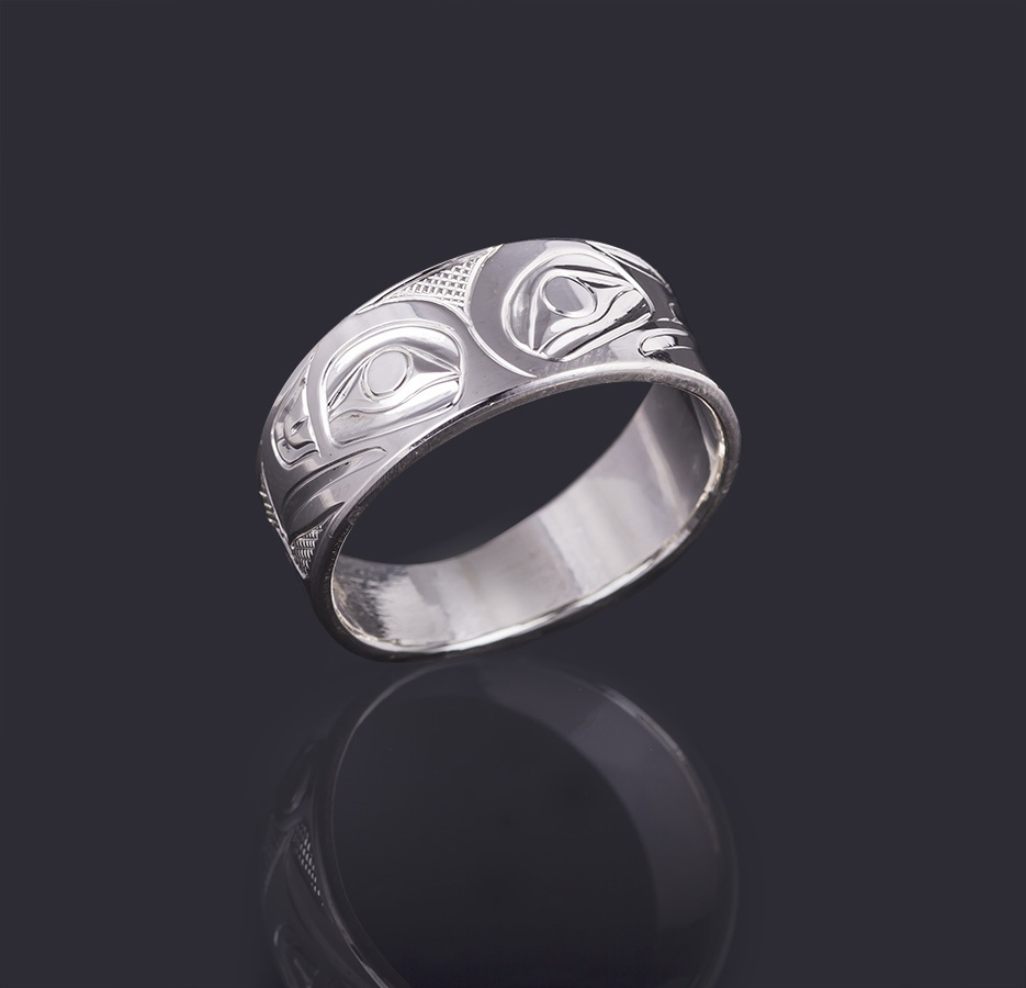 raven and eagle ring Landon Gunn Kwakwaka'wakw 3/8 Wide Size 12 3/4 silver jewelry northwest coast native art