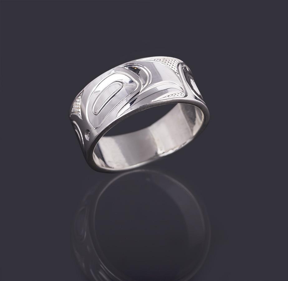 eagle ring Landon Gunn Kwakwaka'wakw 3/8 Wide Size 9 3/4 silver northwest coast native art jewelry