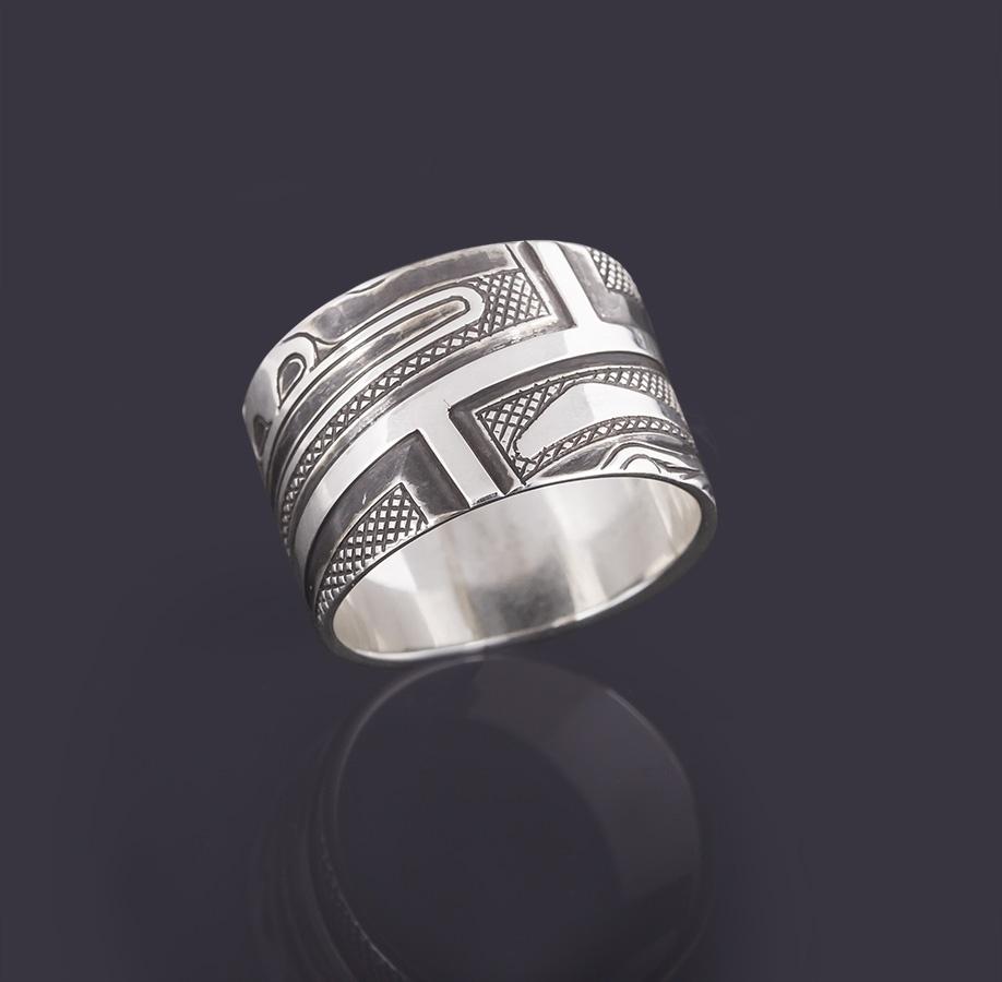 chilkat faces ring Clinton Work Kwakwaka'wakw 1/2 Wide, Size 6 1/2 jewelry silver oxidized northwest coast native art
