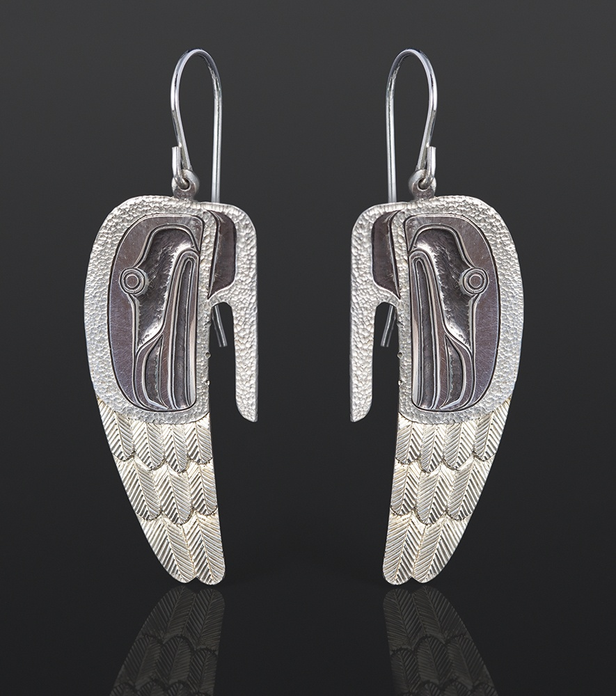 Wings earrings Corey Moraes Tsimshian Silver 1¼ x ¾ 850 jewelry northwest coast native art