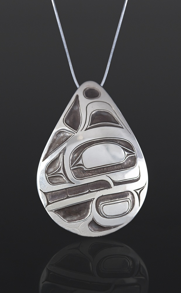 Orca Pendant Corey Moraes Tsimshian Silver, silver chain 1¼ x 1 875 northwest coast native art jewelry