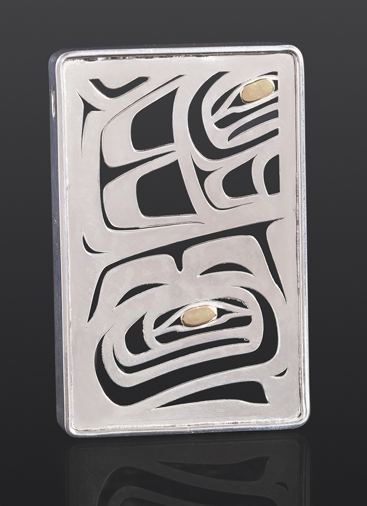 salmon pendant Grant Paul Tahltan Silver, 14k gold 2 x 1 1/4 350 jewelry northwest coast native art