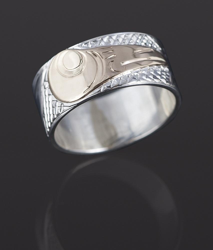 hummingbird ring Lloyd Wadhams Kwakwaka'wakw Hand carved 14k gold on sterling silver jewelry northwest coast native art