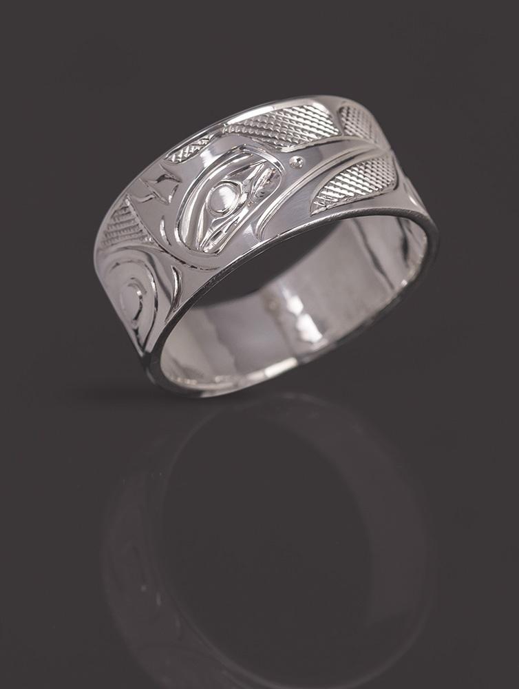 kingfisher ring Landon Gunn Kwakwaka'wakw Silver northwest coast native art jewelry
