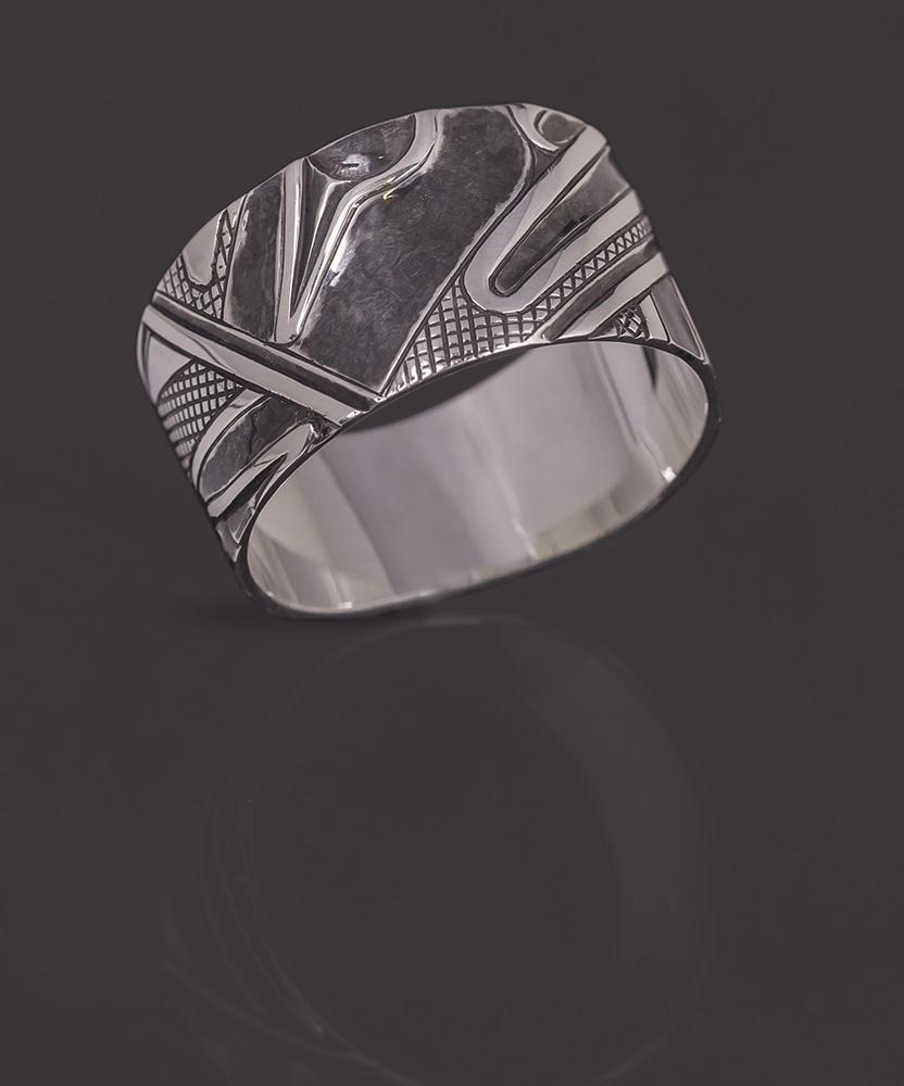 abstract human ring Clinton Work Kwakwaka'wakw Oxidized silver 11 ¼ jewelry ring northwest coast native art
