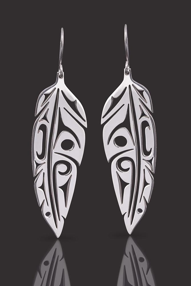 Eagle feather earrings Lou-ann Neel Kwakwaka'wakw Silver 2 long 175 jewelry northwest coast native art
