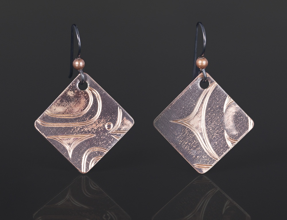 copper square earrings Jennifer younger Tlingit Copper 3/4 x 3/4 jewelry northwest coast native art