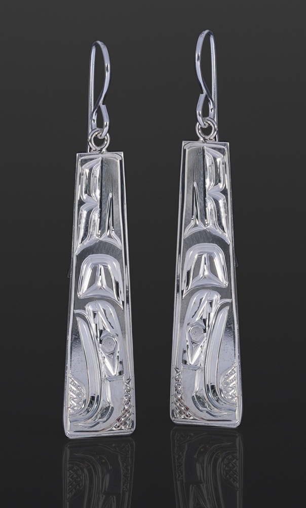 haida eagle earrings Bill Bedard Haida Silver 1 1/2 x 3/8 185 jewelry northwest coast native art
