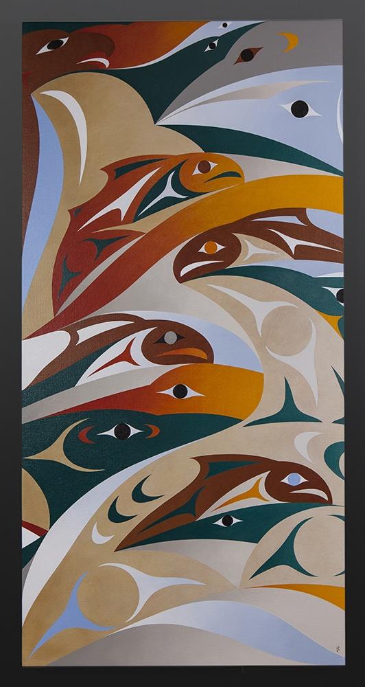 missing pieces Susan Point Coast Salish Acrylic on canvas 48 x 24 Please enquire original painting northwest coast native art