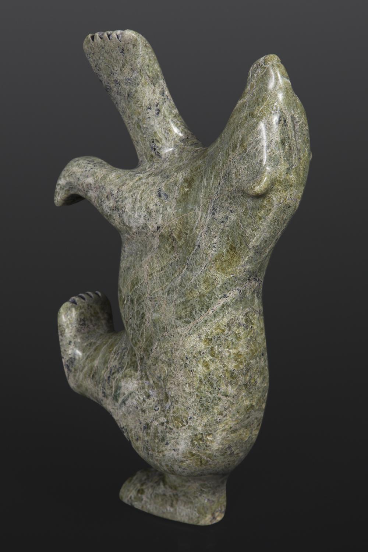 Dancing Bear Nuna Parr Inuit Serpentine 5 x 10 x 2½ 980 inuit sculpture stone cape dorset