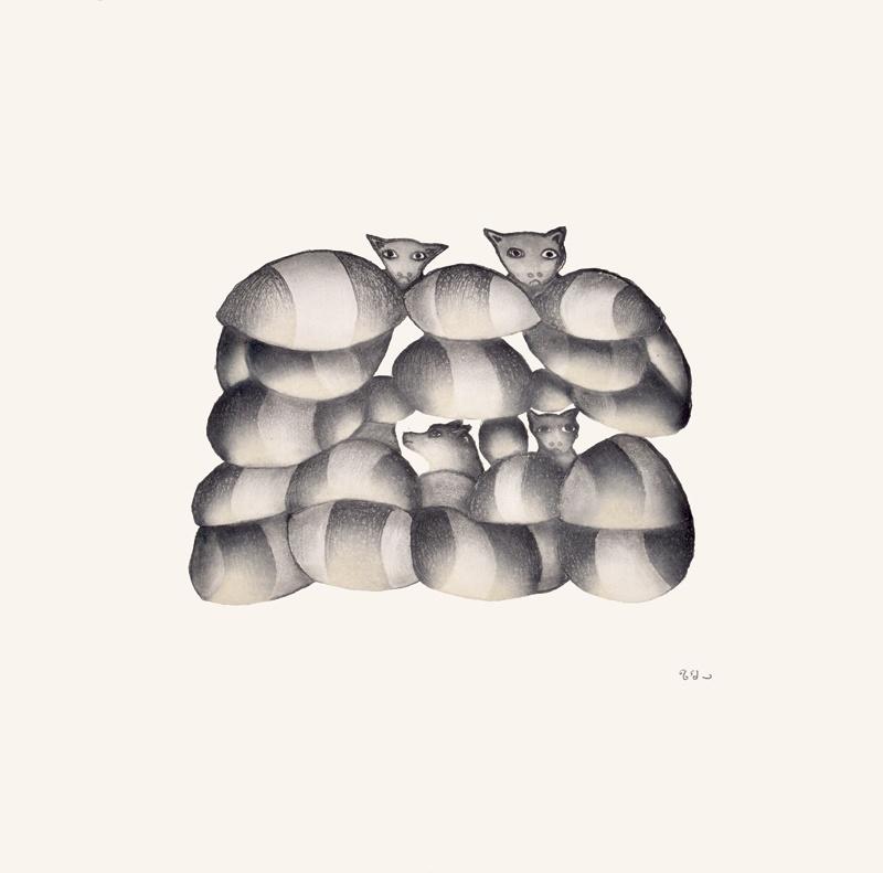 cats and dogs Kakalu Saggiaktok Etching & Aquatint 15 x 15 400