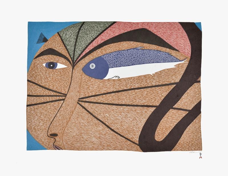 Saimaiyu Akesuk Lithograph the swimmer inuit print cape dorset