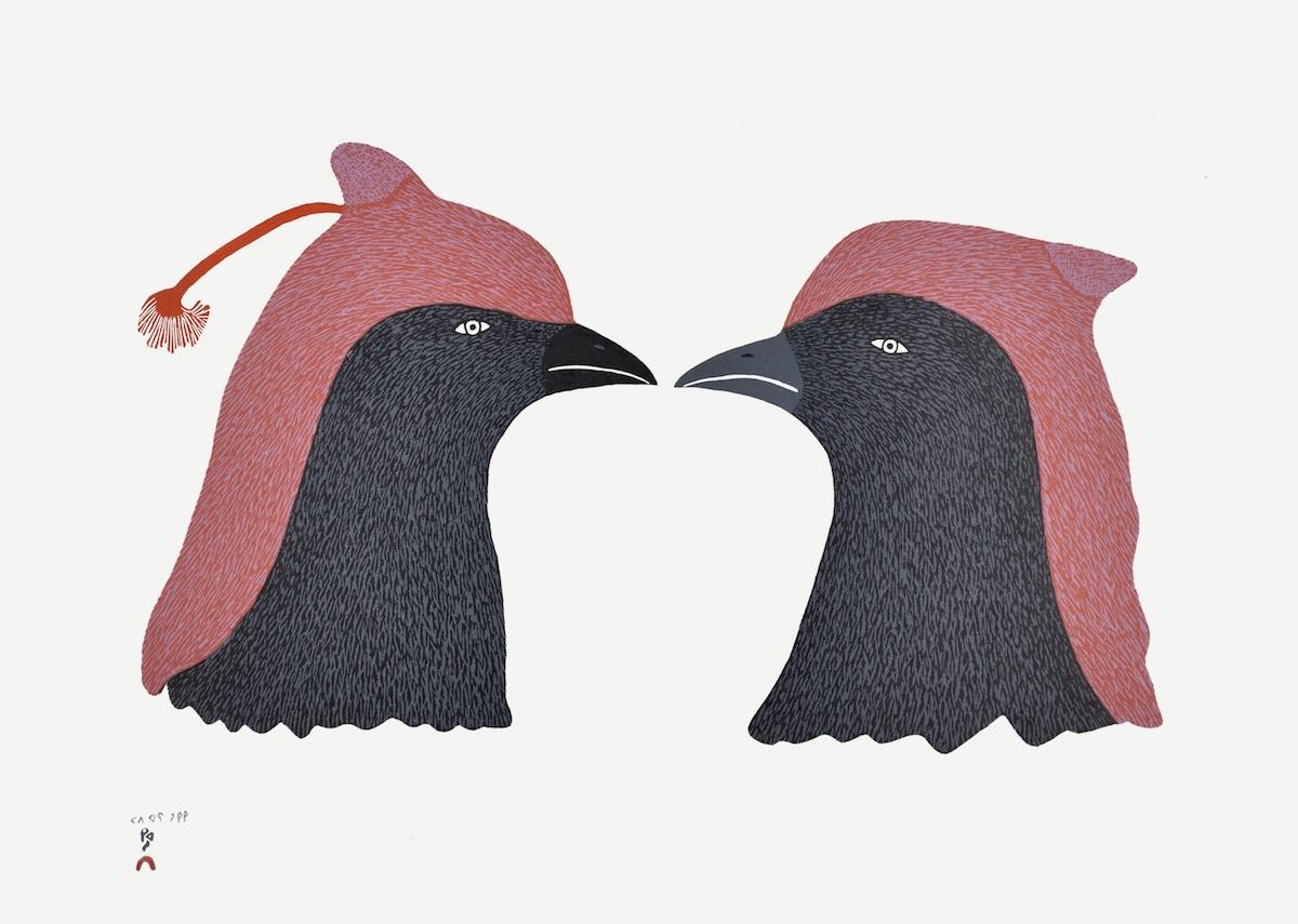 "Papiara Tukiki Stonecut 17 ½""x 24 ¼ 700 crested ravens Inuit print cape dorset"