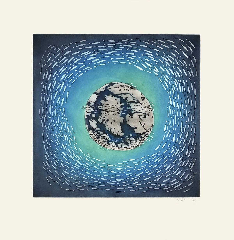 Shuvinai Ashoona Etching & Aquatint 27 ¾ x 27 ½ Global Currents inuit print cape dorset
