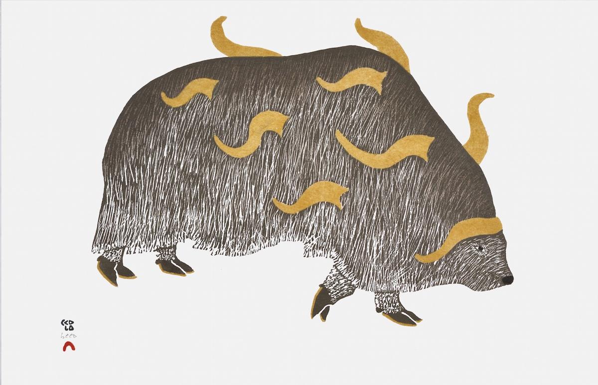 Qavavau Manumie Stonecut & Stencil 12 ¾ x 19 ¼ 525 horned muskox print inuit cape dorset